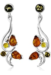 Sterling Silver Multi-Color Amber Modern Earrings
