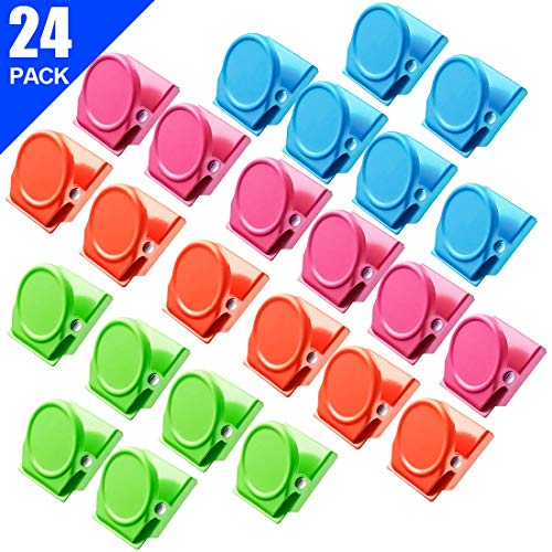 Large Metal Memo Clips - Magnetic Clips, 24 Pieces Magnetic Metal Clips, Refrigerator Whiteboard Wall Fridge Magnetic Memo Note Clips Magnets Metal Clip