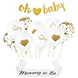 Baby shower decorations set: 9 balloons [ gold heart, confetti, oh baby] gold ribbons, Glitter oh baby string banner, mommy to be WHITE LACE SASH ,Gender reveal party supplies, unisex boys girls