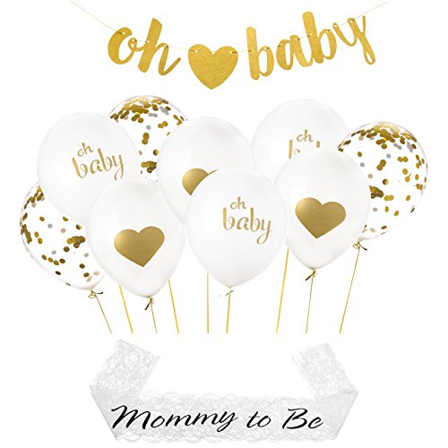 Gold Baby Shower Party Decorations - Cute Confetti Balloons, Ribbons & Oh Baby Glitter Banner - Babyshower, Gender Reveal Decoration Supplies for Boy or Girl