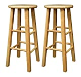 Bar Stool Wood Winsome Wood 29-Inch Square Leg Barstool with Natural Finish, Set of 2