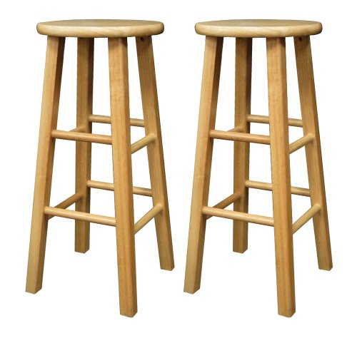 Wood Backless Bar Stools - 8