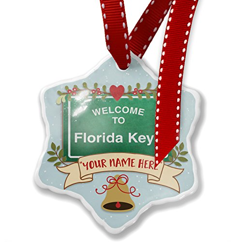 Key Ornament (Add Your Own Custom Name, Green Road Sign Welcome To Florida Keys Christmas Ornament NEONBLOND)