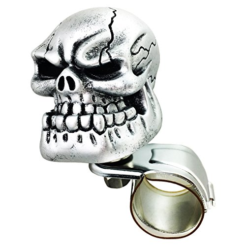 (Arenbel Car Steering Wheel Spinner Silver Skull Head Big Bone Rotating Suicide Knob Spinners Mounted on Outside Rim of Steering Wheel)