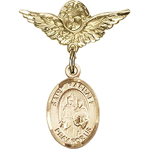 14kt Yellow Gold Baby Badge with St. Raphael the Archangel Charm and Angel w/Wings Badge Pin 1 X 3/4 inches by Bonyak Jewelry Saint Medal Collection