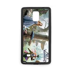 Alice In Wonderland funda Samsung Galaxy Note 4 caja funda del teléfono celular del teléfono celular negro cubierta de la caja funda EEECBCAAJ08555