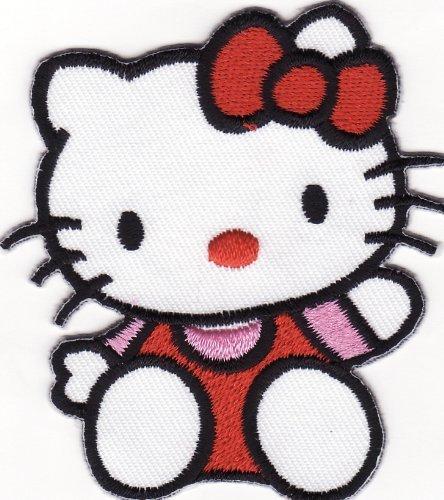 Hello Kitty Patches 6.3x7 Cm Iron on Patch/embroidered Patch This Appliques Are Great for T-shirt, Hat, Jean ,Jacket, Backpacks - Hello Kitty Applique