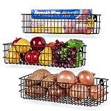 Wall35 Kansas Wall Mounted Kitchen Storage Metal Wire Fruit Basket Varying Sizes Set of 3 Black (Black)