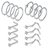Briana Williams 16pcs 18G Nose Rings Hoop Cartilage Helix Tragus Earrings Hoop Nose Rings Studs Screw Nose Piercing CZ Inlaid