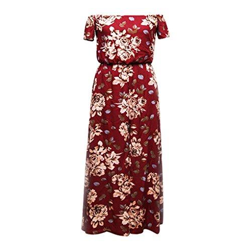 QHGstore Aus Schulter-Blumendruck-Spielanzug-Maxi-Kleid-Frauen-Overall-Sommer-Strand-Kleid