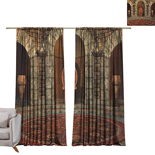 berrly Room Darkening Wide Curtains Gothic,Throne of King in Vintage Style Palace Chandelier Medieval Architecture Theme, Burgundy Grey W96 x L96 Thermal Insulating Blackout Curtain