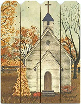 Home Cabin Décor 'Blessed Assurance' by Billy Jacobs 9x12 Print on Wood Picket Fence Country Church Steeple Cross Corn Shock Pumpkins Autumn Fall Art Picture Wall Hanging Plaque