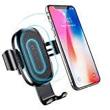 Wireless Car Charger, Baseus Gravity Car Charger Mount Air Vent Phone Holder, 10W for Samsung Galaxy S8, S7/S7 Edge, Note 8 and 5W for Standard Charge for iPhone X, 8/8P & QI-Certified Devices (Black)