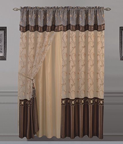 """All American Collection New 1 Panel Embroidered Curtain with Attached Valance and Sheer Backing (55"""" x 63"""", Coffee)"""
