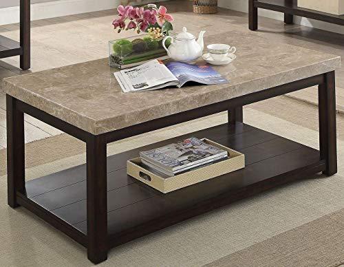 Calgary Dark Walnut Marble/Wood Coffee Table by Furniture of -