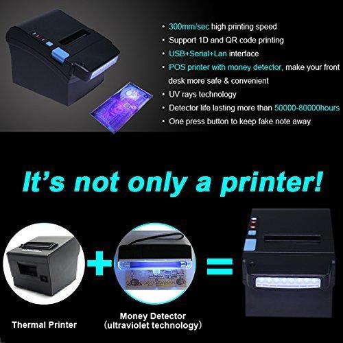 [Detector de Dinero] 300 mm/Sec Impresora de Tickets térmicos de 80 mm con Detector de Moneda UV Impresora de Recibos térmicos: Amazon.es: Electrónica