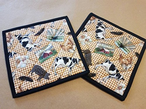 Set of 2 Country Farm Animal Potholders, Gingham Potholders, Quilted Hot Pads, Trivets, Country Home, Cow, Tractor, Egg Basket, Pig, Feather, Buy Local, Farm House Potholders, Country Kitchen Linens by LuLu Belle Quilts