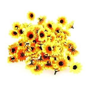 VORCOOL Artificial Flowers,200 Pcs Artificial Sunflower Heads Plastic for Wedding Party Festival Decor 79