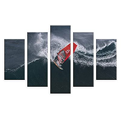 Alonline Art - Wind Surfing Split 5 Panels Framed Cotton Canvas for Home Decor Ready to Hang Wall Art Museum Quality Frame Frames