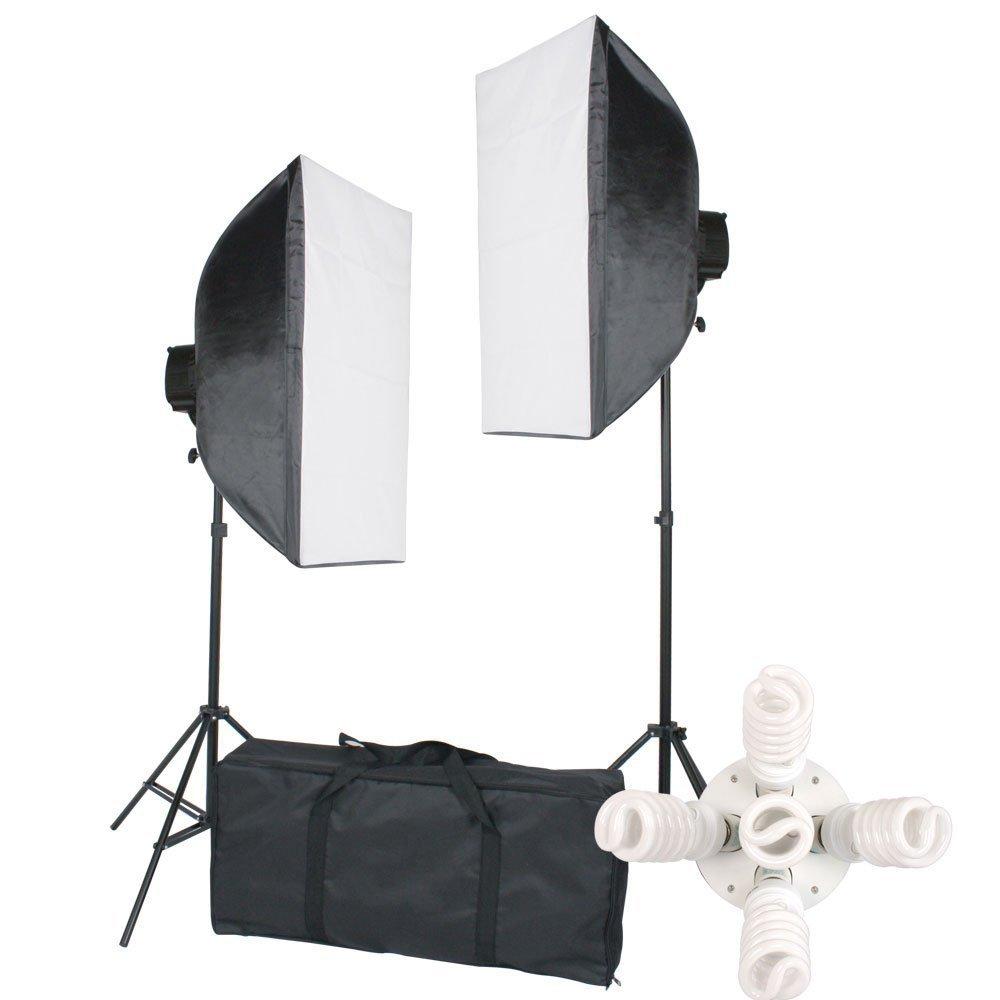 StudioFX 2400 Watt Large Photography Softbox Continuous Photo Lighting Kit 28'' x 20'' + Boom Arm Hairlight with Sandbag by Kaezi by StudioFX