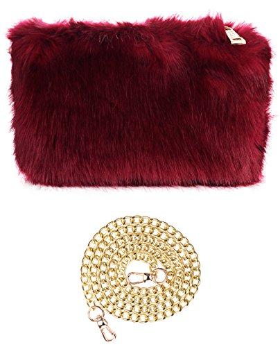 C.C Women's Evening Faux Fur Fuzzy Crossbody Shoulder Bag Clutch Purse, -