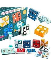 Houten uitdrukkingen speelgoed houten magische kubus gezicht patroon bouwstenen educatieve Montessori speelgoed voor kinderen leeftijd 3 4 5 jaar oud, 16 stuks hout puzzel en 64 kaarten
