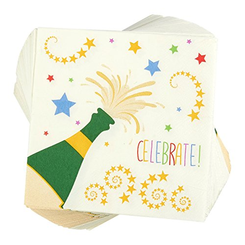 100-Pack Cocktail Napkins - Disposable Paper Party Celebrate! Napkins with Champagne Design - Perfect for New Years, Birthday and Anniversary Celebrations, 5 x 5 Inches Folded