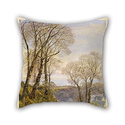 Oil Painting John Brett - February In The Isle Of Wight Pillow Covers 16 X 16 Inches / 40 By 40 Cm Gift Or Decor For Play Room Dance Room Pub Indoor Gf Boy Friend - Each Side (Wicker Brett)