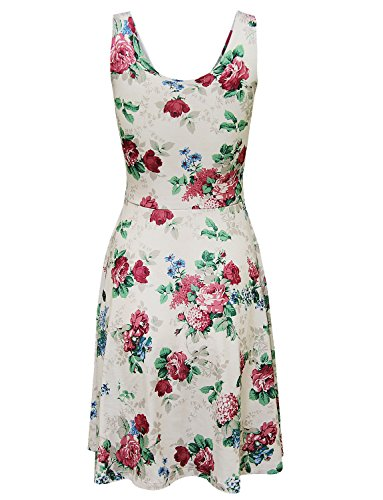 Tom's Ware Womens Casual Fit and Flare Floral Sleeveless Dress TWCWD054-WHITEWINE-US L by Tom's Ware (Image #3)