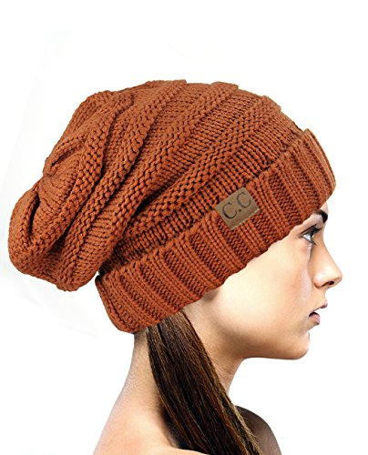 NYFASHION101 Oversized Baggy Slouchy Thick Winter Beanie Hat, Rust