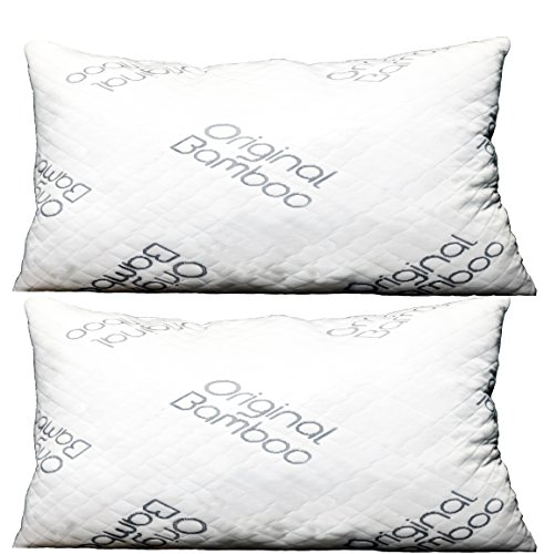Price comparison product image Original Bamboo Pillow DIAMOND SERIES Set of 2 { Standard/Queen } Cooling Shredded Memory Foam | Adjustable Loft - Back Side or Stomach Sleeper | Washable Hypoallergenic Cool Sleeping Bed Pillows
