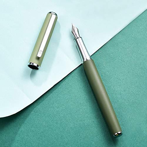 Hongdian 523 Retro Morandi Metal Fountain Pen Matte Ink Pen (Green, Extra Fine Nib 0.4mm)