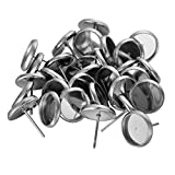 HOUSWEETY 30Pcs Stainless Steel Round Cabochon Setting Earring Post 12mm