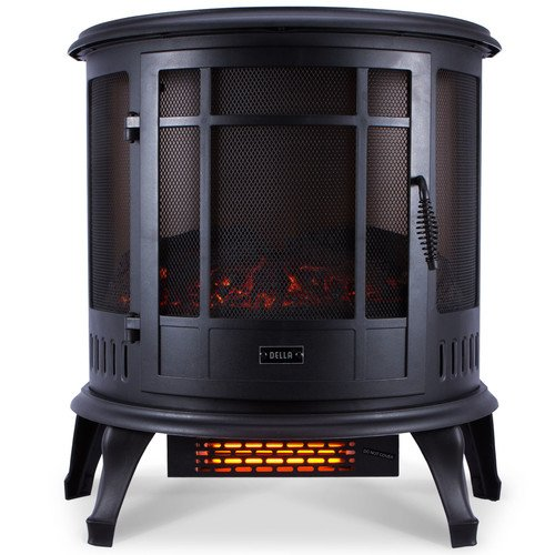 Della 1400W Electric Fireplace Portable Stove Space Heater Realistic Flame, Black Della Infrared Heaters