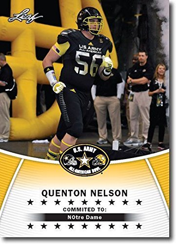 Leaf QUENTON NELSON 2014 1ST EVER PRINTED U.S. ARMY ALL-AMERICAN HIGH SCHOOL ROOKIE CARD! NOTRE DAME FIGHTING (Georgia Coin Set)