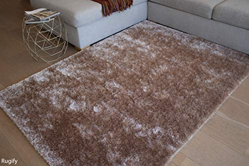 Beige Tan Color 5×7 Feet Shag Shaggy Solid Fuzzy Furry Decorative Designer Modern Contemporary Area Rug Carpet Rug Indoor Bedroom Living Room Hand Woven Plush Pile Soft Fluffy Fuzzy Furry