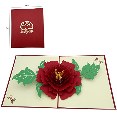 Messagee Red Peony 3D Pop-up Greeting Cards for Father's Day Mother's Day Marriage Envelope Wedding Gift