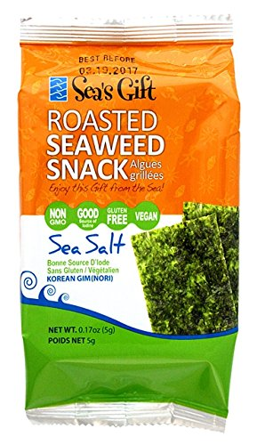 Sea's Gift Korean Seaweed Snack (Kim Nori), Roasted & Sea Salted, 0.17-Ounce Bags (Pack of 24) by Sea's Gift