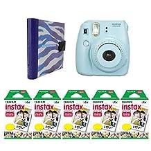 Nifty NIAL-100PP8BL Instax Mini Photo Album (Purple/White Zebra) with Instax Mini 8 Camera (Blue), 100 Exposures of Fuji Instax Mini Film