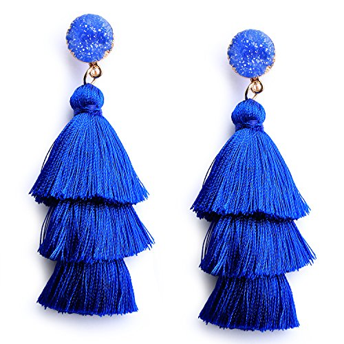 Womens Bohemain Tiered Tassel Earring Royal Blue Fashion Tassel Statement Dangle Drop Earrings for Girls