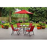 Mainstays Albany Lane 6 Piece Folding Dining Set (Includes Dining Table,  Folding Chairs
