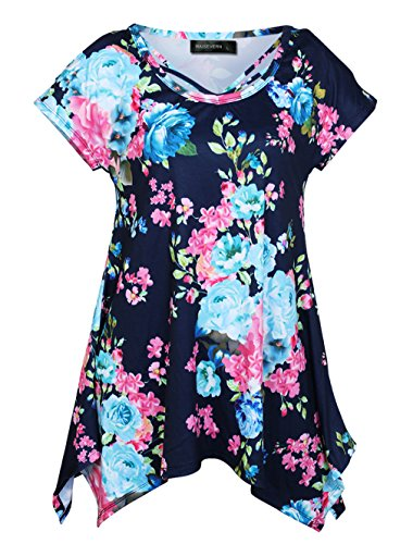 Cross T RAISEVERN Blue Tunic Floral Irregular Women's Shirt Dress Neck Open Criss Hem Shoulder OwEBzrw7q