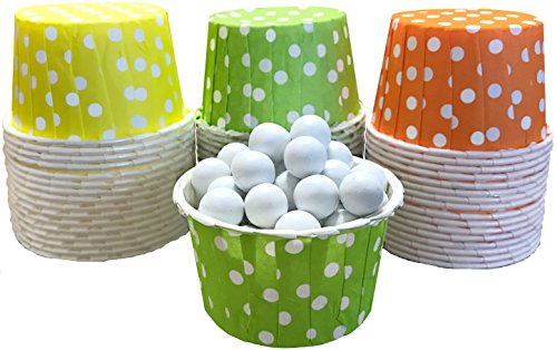 Outside the Box Papers Polka Dot Candy Nut Cups 48 Pack Green, Yellow, Orange, White]()