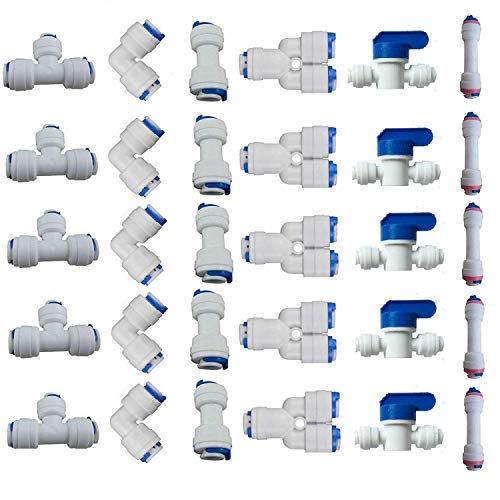 """Lemoy 1/4"""" OD Quick Connect Push In to Connect Water Tube Fitting for RO Reverse Osmosis Water Filter Fittings Pack of 30"""