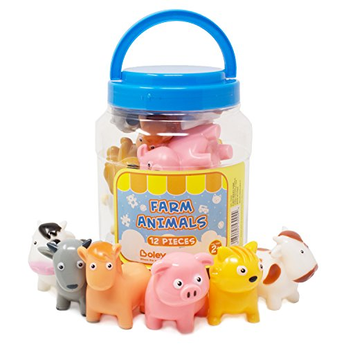 BOLEY (12-Piece) Farm Animal Bath Bucket - Farm Animal Toys Features Cow, Chicken, Pig and More! - Perfect Party Gift For Anyone Giving Educational Toys or Bath Toys For Toddlers ()