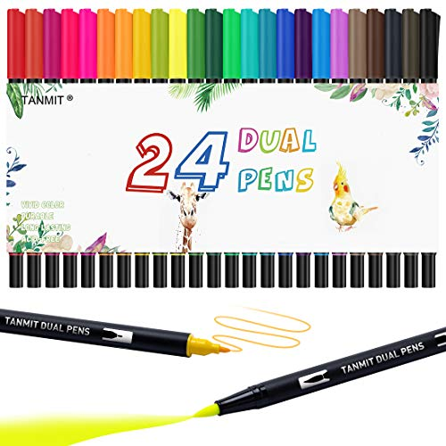 24 Colors Dual Tip Brush Pen Art Markers, 30% More Ink Fine Tip & Calligraphy Brush Pens for Journaling, Sketching, Hand…
