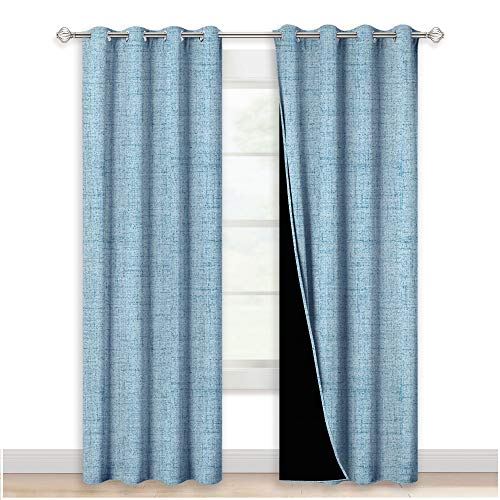 NICETOWN Full Blackout Curtains Panels with Faux Linen Texture Printed Pattern, Grommet Top Burlap Pattern Window Treatment for Living Room/Dining Room, 52 inches W x 84 inches L, Denim Blue, 2 Panels (Curtains Door Country Style Patio)