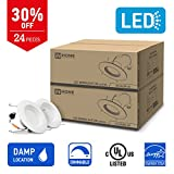 IN HOME 6-inch LED Downlight RETROFIT KIT Recessed Lighting Fixture, 18W (90W Equivalent), Dimmable, 4000K (Bright white), 1200 Lumens, (24 Pack), UL and ENERGY STAR listed