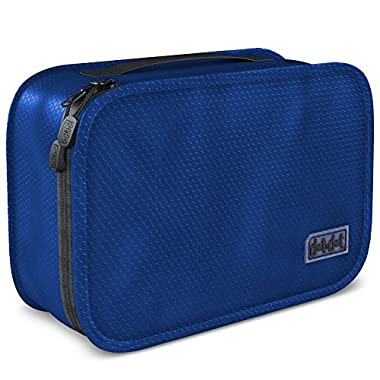 Dot&Dot Hanging Toiletry Bag for Men, Women and Kids - Organizer for Travel Accessories and Toiletries (11  x 6.75  x 3 , Dark Blue)