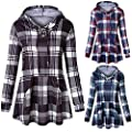 WOCACHI Womens Plaid Hoodies with Pockets Pullover Long Sleeve Tops Sweatshirts